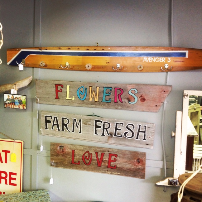 #signs#vintage#wooden#water ski#coatrack#flowers#farm
