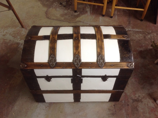 Vintage, rounded top trunk with beautiful wood and metal wood
